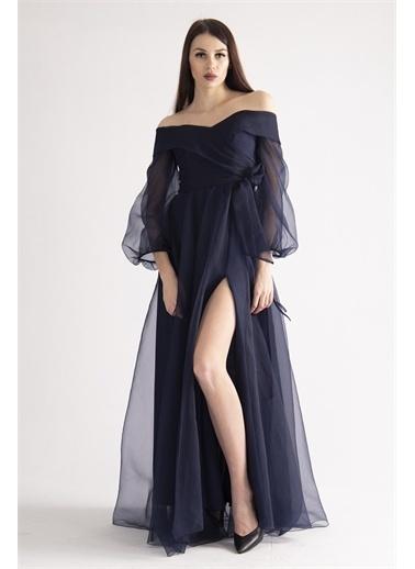 Belamore  Lacivert Kayık Yaka Yırtmaçlı Abiye & Meznuiyet Elbisesi 1301583.02 Lacivert